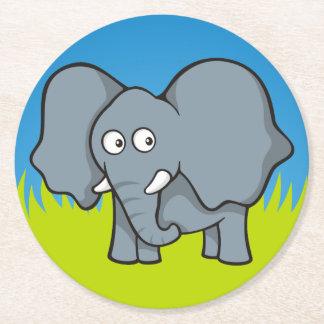 Gray elephant cartoon round paper coaster