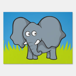 Gray elephant cartoon sign