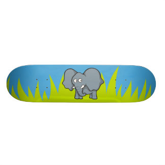 Gray elephant cartoon skateboard deck