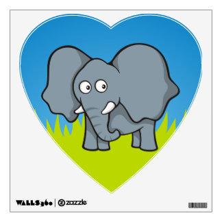 Gray elephant cartoon wall decal