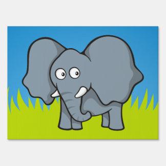 Gray elephant cartoon yard signs