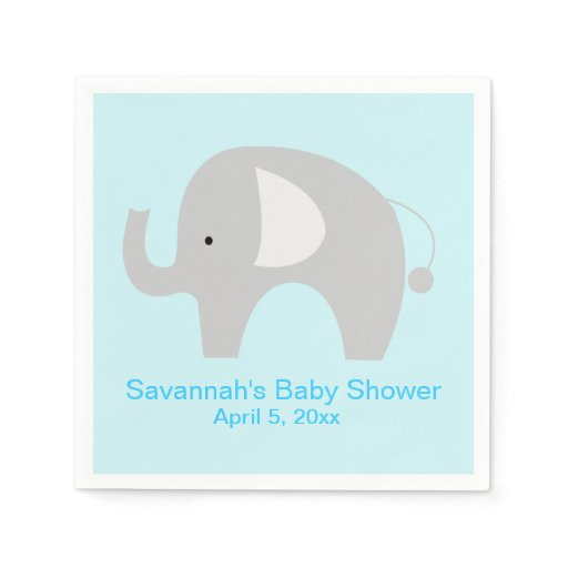 Gray Elephant Custom Party Napkin (Blue)