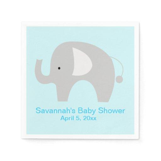 Gray Elephant Custom Party Napkin (Blue)