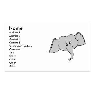 Gray Elephant Face. Cartoon. Business Card
