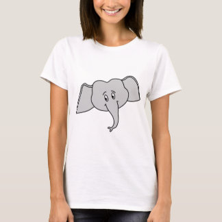 Gray Elephant Face. Cartoon. T-Shirt
