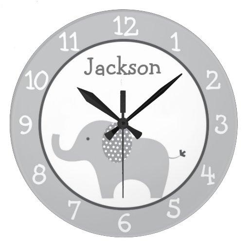 Gray Elephant Nursery Large Clock