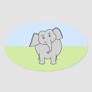 Gray Elephant Oval Sticker
