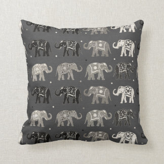 Gray Elephant Pattern Linen Look Pillow