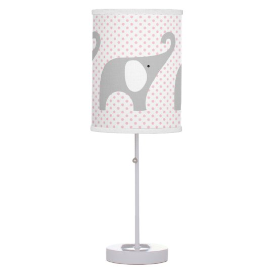 Gray Elephant Pink Stripe Baby Nursery Decor Table Lamp