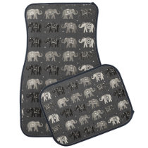 Gray Elephant Print Car Mats