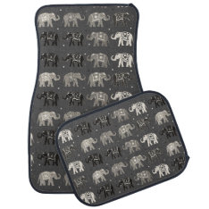 Gray Elephant Print Car Mats at Zazzle