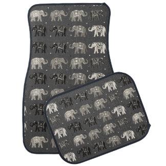 Gray Elephant Print Car Mats