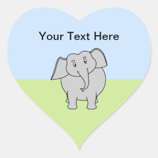 Gray Elephant Heart Sticker