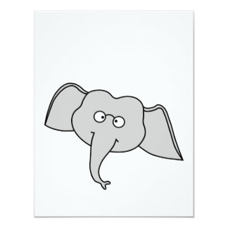Gray Elephant with Glasses. Cartoon. Card