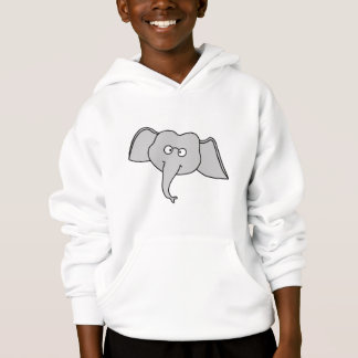 Gray Elephant with Glasses. Cartoon. Hoodie