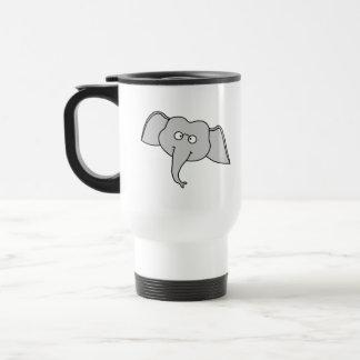 Gray Elephant with Glasses. Cartoon. Travel Mug