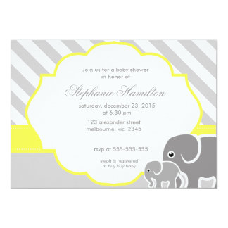Gray  elephants lemon neutral baby shower card