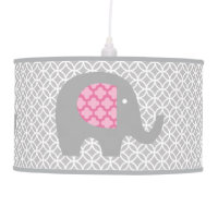 Gray Elephants on Parade Pendant Lamp