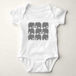 Gray Elephants Silhouette Baby Bodysuit