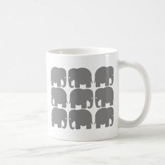 Gray Elephants Silhouette Coffee Mug