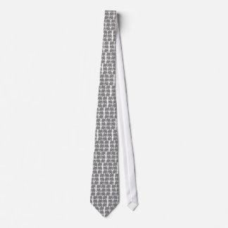 Gray Elephants Silhouette Neck Tie
