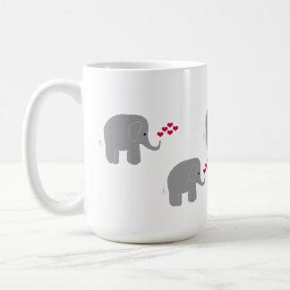 Gray Elephants with Sprays of Red Hearts Coffee Mug