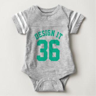 Gray & Emerald Green Baby | Sports Jersey Design Tee Shirt