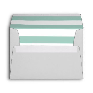 Gray Envelope With Mint Green and White Stripes