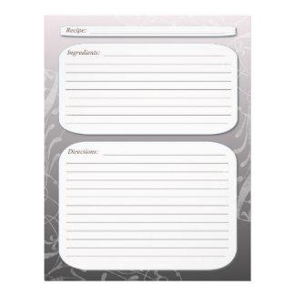 "Gray fade classy swirl recipe page 8.5"" x 11"" flyer"