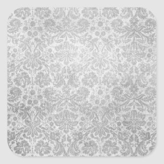 Gray faded damasks pattern square sticker