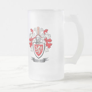 Gray Family Crest Coat of Arms Frosted Glass Beer Mug