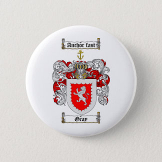 GRAY FAMILY CREST -  GRAY COAT OF ARMS PINBACK BUTTON