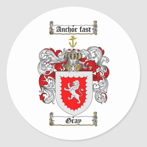 GRAY FAMILY CREST -  GRAY COAT OF ARMS CLASSIC ROUND STICKER
