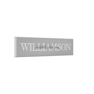Gray Family Name Monogram Sign Canvas Print