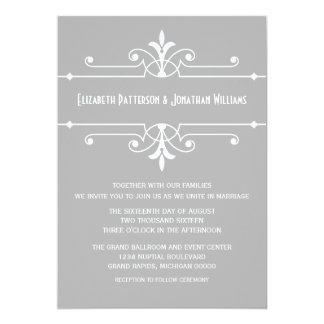 Gray Fancy Ornamental Wedding Invite