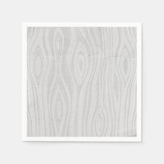 Gray Faux Bois Rustic Hand Drawn Wood Woodgrain Paper Napkin