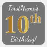 [ Thumbnail: Gray, Faux Gold 10th Birthday + Custom Name Sticker ]