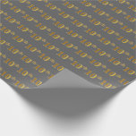 [ Thumbnail: Gray, Faux Gold 10th (Tenth) Event Wrapping Paper ]