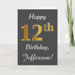 [ Thumbnail: Gray, Faux Gold 12th Birthday + Custom Name Card ]
