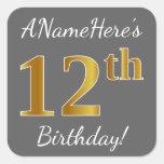 [ Thumbnail: Gray, Faux Gold 12th Birthday + Custom Name Sticker ]