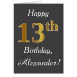 [ Thumbnail: Gray, Faux Gold 13th Birthday + Custom Name ]