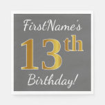 [ Thumbnail: Gray, Faux Gold 13th Birthday + Custom Name Napkin ]