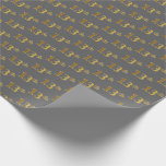 [ Thumbnail: Gray, Faux Gold 13th (Thirteenth) Event Wrapping Paper ]
