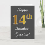 [ Thumbnail: Gray, Faux Gold 14th Birthday + Custom Name Card ]