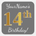 [ Thumbnail: Gray, Faux Gold 14th Birthday + Custom Name Sticker ]