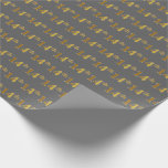 [ Thumbnail: Gray, Faux Gold 14th (Fourteenth) Event Wrapping Paper ]