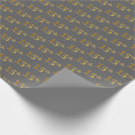 [ Thumbnail: Gray, Faux Gold 15th (Fifteenth) Event Wrapping Paper ]