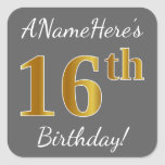 [ Thumbnail: Gray, Faux Gold 16th Birthday + Custom Name Sticker ]