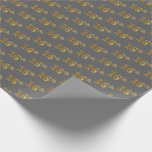 [ Thumbnail: Gray, Faux Gold 16th (Sixteenth) Event Wrapping Paper ]