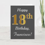 [ Thumbnail: Gray, Faux Gold 18th Birthday + Custom Name Card ]